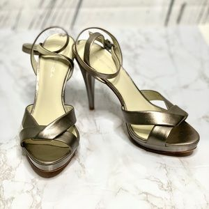 VIA SPIGA Metallic Platform Leather Sandals